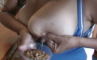 preggo wife squeezes boobs into cereal bowl